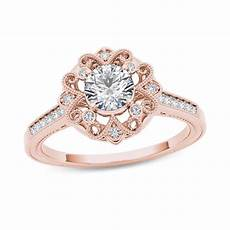 5 8 ct t w diamond flower frame vintage style engagement ring in 14k rose gold rose gold