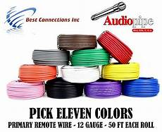 12 gauge 50 ft rolls primary auto remote power ground wire cable 11 colors ebay