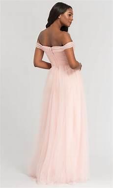 kleinfeld off the shoulder long bridesmaid dress
