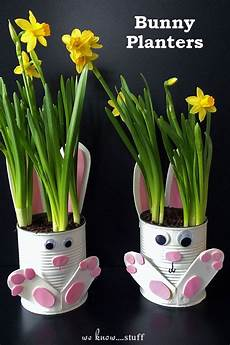 Mit Dosen Basteln - how to make adorable tin can bunny planters for