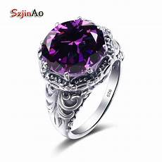 szjinao vintage jewelry design silver ring wedding 925 sterling silver amethyst luxury