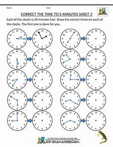 clock time sheets telling time clock worksheets to 5 minutes