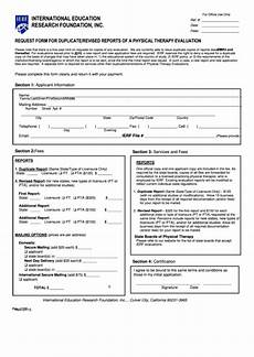fillable request form for duplicate revised reports of a physical therapy evaluation form