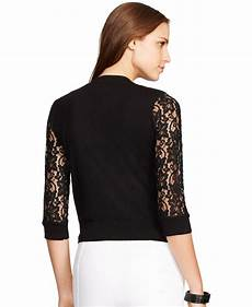 lyst by ralph lace sleeve cardigan in black