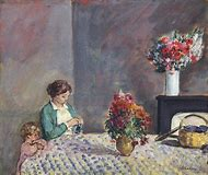 Woman at Table Painting