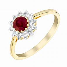 9ct yellow gold 10pt ruby and diamond ring ernest jones
