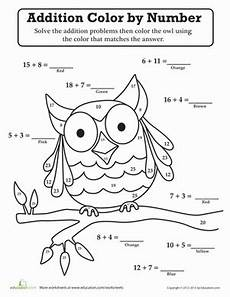 addition colouring worksheets year 1 9863 owl color by number color by numbers math numbers simple math