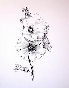 original drawing gel pen on glossy paper mallow flowers