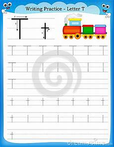 writing practice letter t stock vector image 50726844
