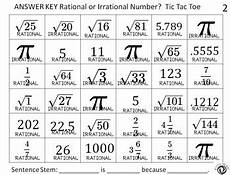 rational vs irrational numbers tic tac toe game by idea