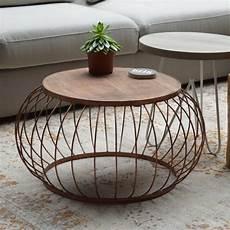 Runder Wohnzimmertisch Holz - beistelltisch couchtisch bruno 216 70 cm metallkorb