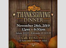 2019 Thanksgiving Dinner   The Narrows Restaurant