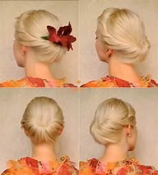 wonderful diy elegant updo for medium hair