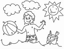 A Boy Playing With His Beach Ball Coloring Page  Download