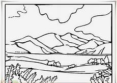 Sketsa Pemandangan Gunung Meletus Ginting Gambar