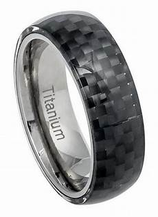 8mm titanium ring men women wedding band domed black