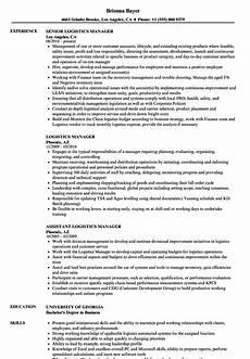 resume format of logistics manager logistics manager resume sles velvet