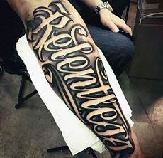 Mens Relentless Script On Outer Forearm With