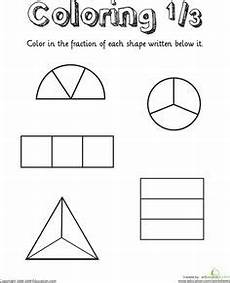 fraction worksheets for primary 3 3827 coloring shapes the fraction 1 2 math for primary and early years fractions