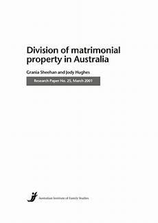 div property pdf division of matrimonial property in australia