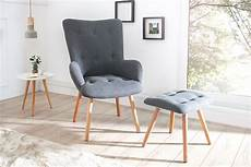 design sessel scandinavia grau inkl hocker retro look