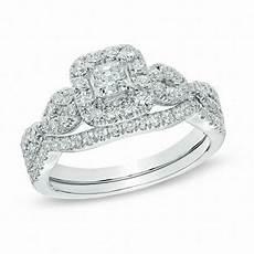 1 ct t w princess cut diamond frame twist bridal in