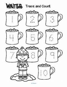 winter themed worksheets pre k 20105 winter trace and count numbers preschool preschool preschool worksheets