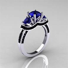 french 14k white gold three stone blue sapphire black diamond wedding ring engagement ring r182