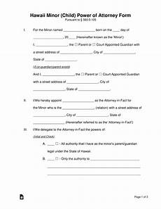 free hawaii power of attorney for a minor child form pdf word eforms free fillable forms