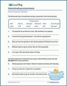 subordinating conjunction worksheets for grade 5 k5 learning