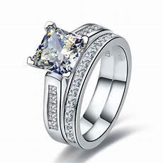 2 carat princess cut wedding rings diamond ring band engagement bridal jewellery