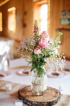 rustic pink barn centerpiece centerpieces country indoor reception spring summer wildflower