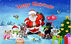 merry christmas with santa clause with his merry friends desktop hd wallpaper 1920x1200