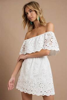 trendy white casual dress shoulder dress white