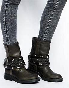 lyst steve madden mightee studded black biker boots in black
