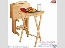 Folding Tv Tray Set Dinner Table Wood Stand Serving Snack