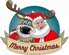 reindeer christmas santa claus hug merry round frame stock vector image 63566476