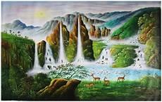 Lukisan Pemandangan Landskap Air Terjun Dan Hewan Rusa