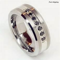 luxury best tungsten ring black diamonds mens wedding band brushed size 6 13 ebay