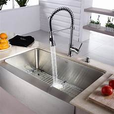 pictures of kitchen sinks and faucets kraus khf20033kpf1612ksd30ch 33 inch farmhouse single bowl stainless steel sink with spiral