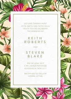 Tropical Themed Wedding Invitations