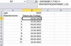 datum des freitags in einer kalenderwoche mit excel berechnen