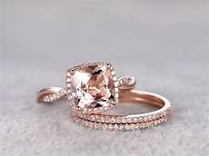 2 4 carat cushion cut morganite rose gold wedding set