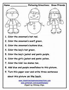 following directions worksheets free printable 11690 this free worksheet allows students to follow directions with color words and names of winter