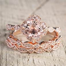 2 carat morganite and diamond trio wedding bridal ring