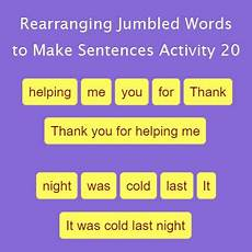 rearranging jumbled words to make sentences activity 20 grammar