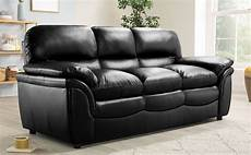 rochester black leather 3 seater sofa furniture choice
