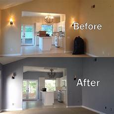 before and after photo of the interior painting job pilot