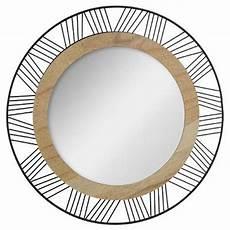 miroir rond metal miroir rond en m 233 tal bois quot joe quot 45cm noir