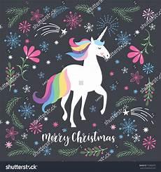 merry christmas greeting card unicorn vector stock vector 712882675